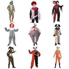 mens halloween scary killer clowns u0026amp jesters fancy dress costumes