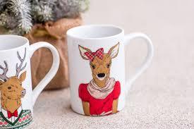 merry deer christmas mug