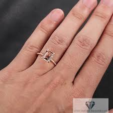 emerald cut solitaire engagement rings emerald cut morganite solitaire engagement ring pave