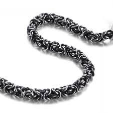 mens silver byzantine necklace images Mens black n silver byzantine chain necklace stainless steel bad jpg