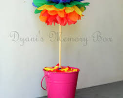 rainbow handmade tissue paper pom poms paper flower wedding