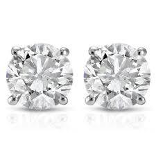 real diamond earrings 1 2ct real diamond studs white gold brilliant cut walmart