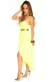 womens clothing party dresses neon lime asymmetrical lining round