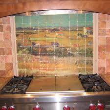 van gogh marble tile mural in rustic kitchen backsplash