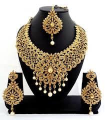 bridal necklace set gold images Buy designer golden stone bridal necklace set with maang tikka online JPG