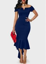 peplum dress peplum hem navy blue the shoulder dress rosewe usd 33 08