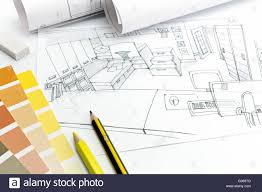 Living Room Architecture Drawing Architects Desk On A White Background With Living Room Picture