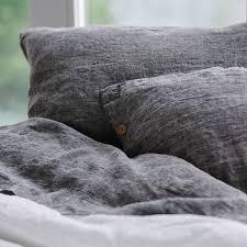 linen dark gray buttoned sham