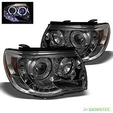 2008 toyota tacoma fog light kit smoked 2005 2011 toyota tacoma halo led projector headlights smoke
