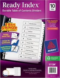 avery table of contents dividers 10 tab set 11134 avery com