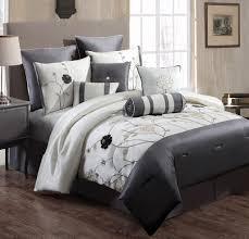 Ivory Comforter Set King Bedroom Ivory And Gray Floral Pattern Comforter Sets On Brown