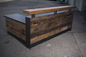 Home Design Reclaimed Wood Reception Desk Style Compact