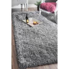 nuloom handmade soft and plush solid grey shag rug 7 u00276 x 9 u00276