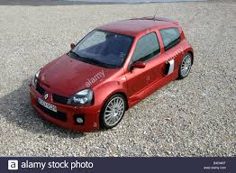 renault red car renault clio v6 small approx model year 2001 red stock