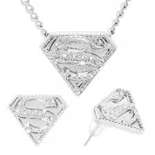 superman earrings embossed necklace earrings jewelry set