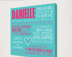 middle school graduation gifts girl s graduation gift canvas preschool graduation