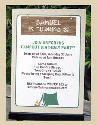 Backyard Birthday Party Invitations by 28 Best Camp Out Birthday Party Images On Pinterest Camping