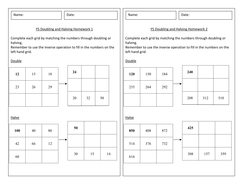 year 5 doubling and halving homework worksheet numeracy