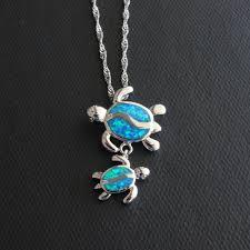 blue opal necklace blue fire opal swimming sea turtle necklace turtle necklace