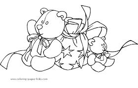 christmas coloring bears christmas presents
