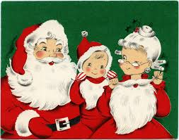 santa family vintage greeting card free