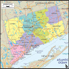 Connecticut travel scale images Map of connecticut includes cities towns and counties road map jpg