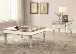 silver mirror panel end table from coaster 703937 coleman