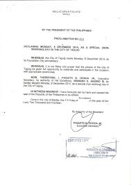 dec 8 declared as special non working day in taguig official