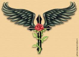 wings angel cross and rose tattoo for you tattoomagz