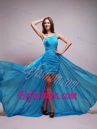 blue graduation dresses one shoulder brush prom dresses for graduation in aqua blue