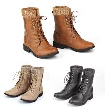 womens flat boots uk womens combat army biker flat lace up work ankle