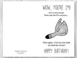 29th birthday card printable birthday card funny cat