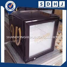 counter top compact hotel mini freezer fridge with glass door bar