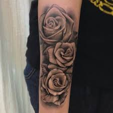 collection of 25 special grey roses tattoos on arm