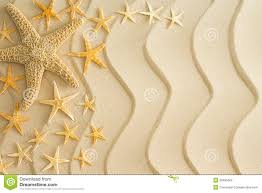 starfish on golden beach sand with wavy lines stock photo image
