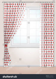 Red And White Curtains For Kitchen White Curtains Red Polka Dots Kitchen Stock Vector 424620529