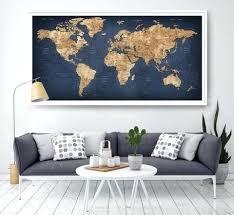 World Map Home Decor World Map Canvas 3 Piece Abstract Blue World