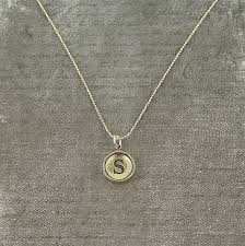 s necklace letter s necklace sterling silver initial typewriter key charm