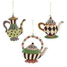 mackenzie childs teapot ornaments set of 3
