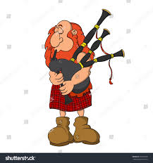 highland scottish bagpiper huge red hair stock vector 279330728