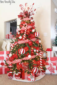 christmas red christmas tree white mesh ribbon and bird topper