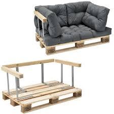 siege en palette canapé de palette 2 siège avec coussins gris brilliant