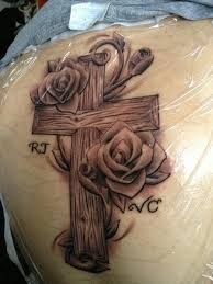 amazing cross tattoos with initials design idea