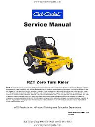 cub cadet rzt series zero turn service repair manual 1 switch