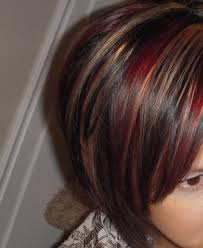 red highlights for dark brown hair brown and blonde hair with