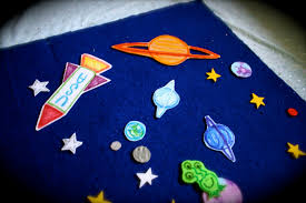 pink and green mama homemade outer space felt board and felt