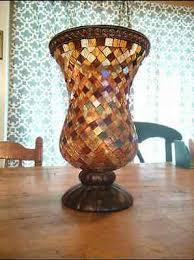 Large Candle Vase Partylite Retired Global Fusion Mosaic Hurricane Large Candle