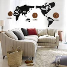 sale creative 3d wooden wall clock world map large size wall