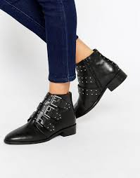 womens boots asos image 1 of asos ashleigh leather studded ankle boots womens