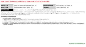 english translator hse qc inspector haccp team cover letter u0026 resume